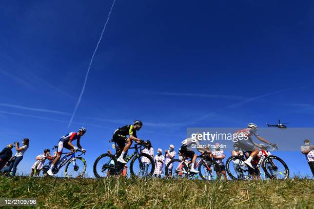 Romain Sicard of France and Team Total Direct Energie / Jack Bauer of New Zealand and Team Mitchelton - Scott / Marc Hirschi of Switzerland and Team...