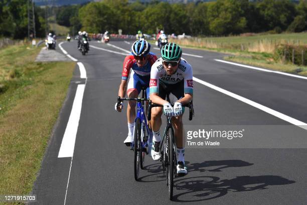 Romain Sicard of France and Team Total Direct Energie / Maximilian Schachmann of Germany and Team Bora - Hansgrohe / during the 107th Tour de France...