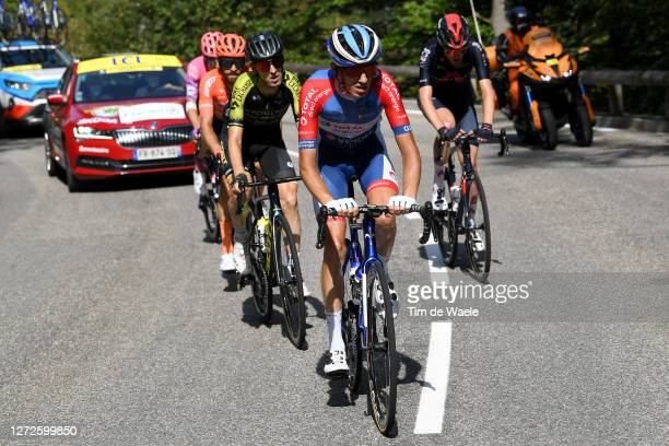 Romain Sicard of France and Team Total Direct Energie / Mikel Nieve Ituralde of Spain and Team Mitchelton - Scott / Simon Geschke of Germany and CCC...