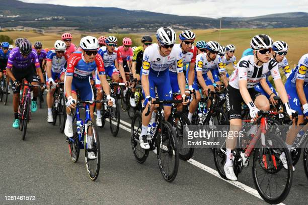 Romain Sicard of France and Team Total Direct Energie / Remi Cavagna of France and Team Deceuninck - Quick-Step / Matthieu Ladagnous of France and...