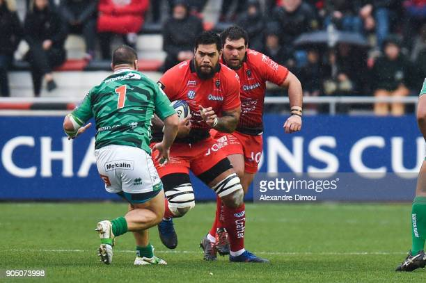 Romain Taofifenua and Marcel Van Der Merwe of Toulon during the Champions Cup match between Toulon and Trevise at Felix Mayol Stadium on January 14...