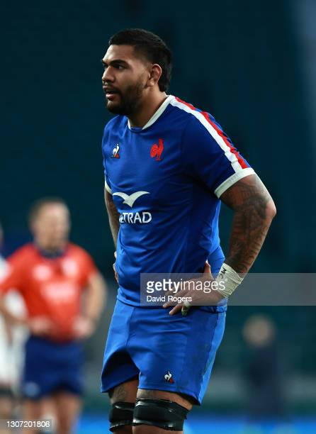 Romain Taofifenua of France looks on during the Guinness Six Nations match between England and France at Twickenham Stadium on March 13, 2021 in...