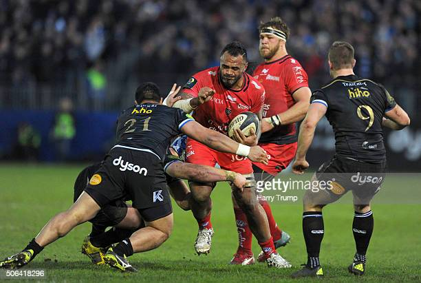 Romain Taofifenua of Toulon is tackled by Alafoti Faosiliva of Bath during the European Rugby Champions Cup match between Bath Rugby and RC Toulon at...