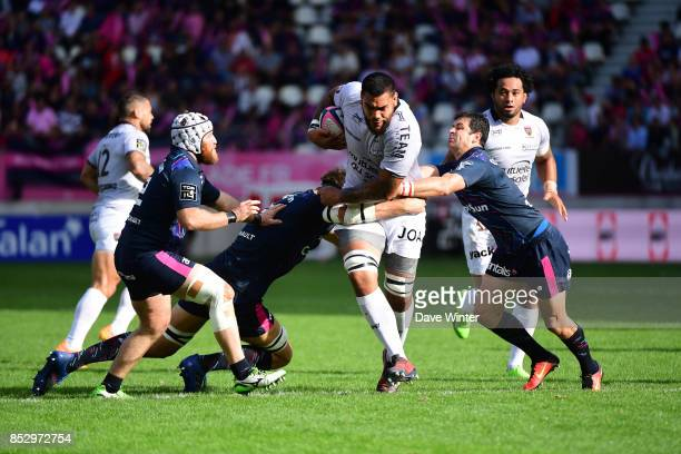 Romain Taofifenua of Toulon on the attack during the Top 14 match between Stade Francais Paris and RC Toulon at Stade Jean Bouin on September 24 2017...