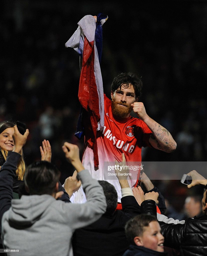 Romain Vincelot of Leyton Orient celebrates with the supporters after victory in the Sky Bet League One play-off second leg semi-final match between Leyton Orient and Peterborough United at Matchroom Stadium on May 13, 2014 in London, England.