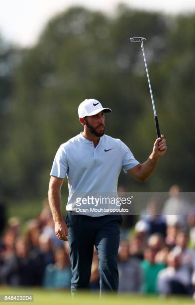 Romain Wattel of France acknowledges the crowd on the 18th hole during Day Four of the KLM Open at The Dutch on September 17 2017 in Spijk Netherlands