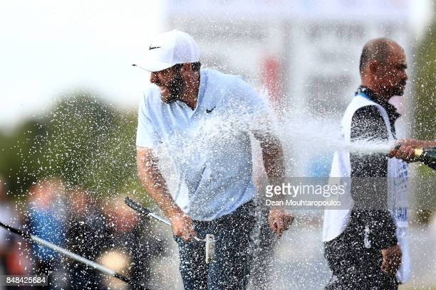 Romain Wattel of France celebrates winning on the 18th hole during Day Four of the KLM Open at The Dutch on September 17 2017 in Spijk Netherlands