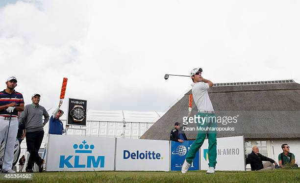 Romain Wattel of France hits his tee shot on the 1st hole during Day 3 of the KLM Open held at De Kennemer Golf and Country Club on September 13 2014...