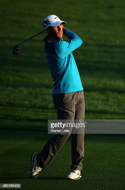 Romain Wattel of France in action during the first round of the Omega Dubai Desert Classic on the Majlis Course at the Emirates Golf Club on January...