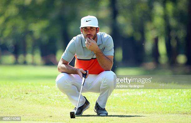 Romain Wattel of France lines up a putt on the second hole during the third round of the 72nd Open d'Italia at Golf Club Milano on September 19 2015...