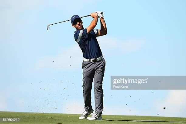Romain Wattel of France plays his second shot on the 18th hole during day three of the 2016 Perth International at Karrinyup GC on February 27 2016...