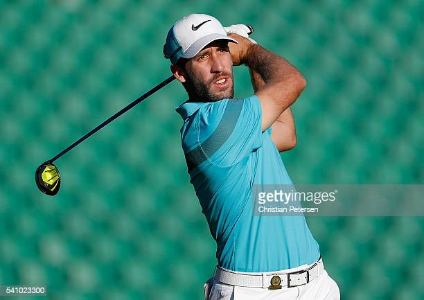 Romain Wattel of France plays his shot from the tenth tee during the continuation of the second round of the US Open at Oakmont Country Club on June...