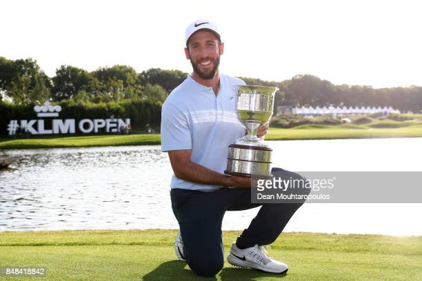 Romain Wattel of France poses with the trophy after winning on Day Four of the KLM Open at The Dutch on September 17 2017 in Spijk Netherlands