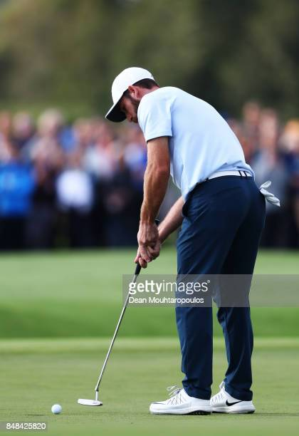 Romain Wattel of France putts on the 18th hole to win the tournament during Day Four of the KLM Open at The Dutch on September 17 2017 in Spijk...