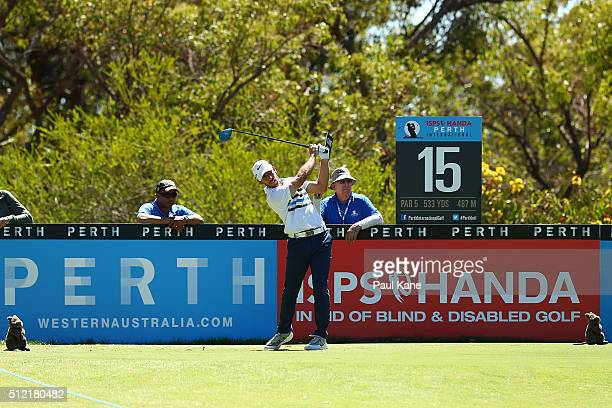 Romain Wattel of France tees off on the 15th hole during day one of the 2016 Perth International at Lake Karrinyup GC on February 25 2016 in Perth...