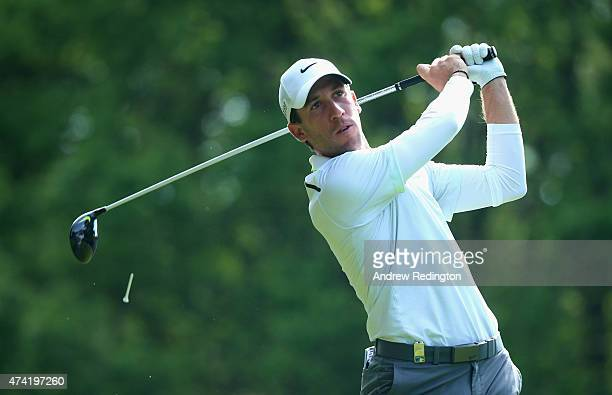 Romain Wattel of France tees off on the 3rd hole during day 1 of the BMW PGA Championship at Wentworth on May 21 2015 in Virginia Water England