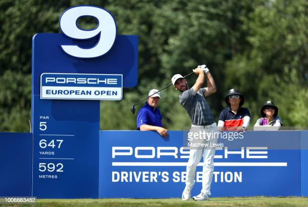 Romain Wattel of France tees off on the 9th hole during day three of the Porsche European Open at Green Eagle Golf Course on July 28 2018 in Hamburg...