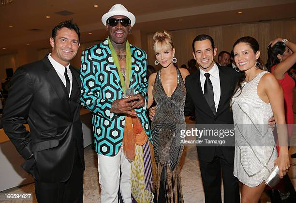 Romain Zago Dennis Rodman Joanna Krupa Helio Castroneves and Adriana Henao attend the Blacks' Annual Gala at Fontainebleau Miami Beach on April 13...