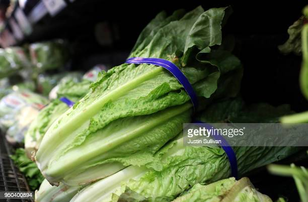 Romaine lettuce is displayed on a shelf at a supermarket on April 23 2018 in San Rafael California The Food and Drug Administration and the Centers...