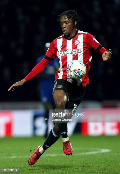 Romaine Sawyers of Brentford controls ball during the Sky Bet Championship match between Brentford and Cardiff City at Griffin Park on March 13 2018...