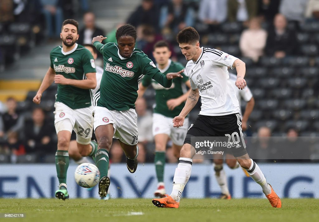 Romaine Sawyers of Brentford drives the ball forward during the Sky Bet Championship match between Fulham and Brentford at Craven Cottage on April 14, 2018 in London, England.