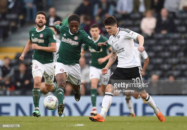 Romaine Sawyers of Brentford drives the ball forward during the Sky Bet Championship match between Fulham and Brentford at Craven Cottage on April 14...