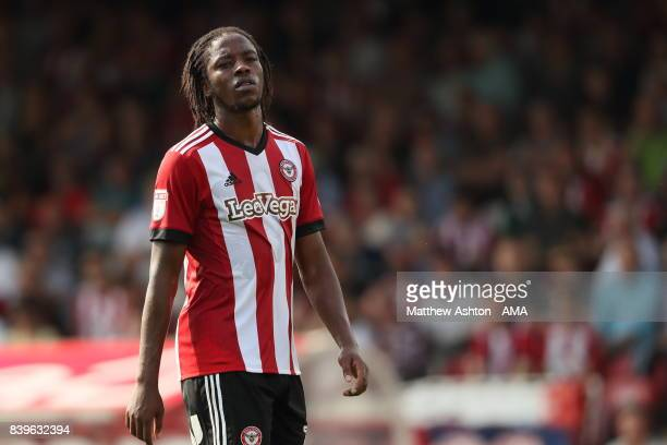 Romaine Sawyers of Brentford during the Sky Bet Championship match between Brentford and Wolverhampton Wanderers at Griffin Park on August 26 2017 in...