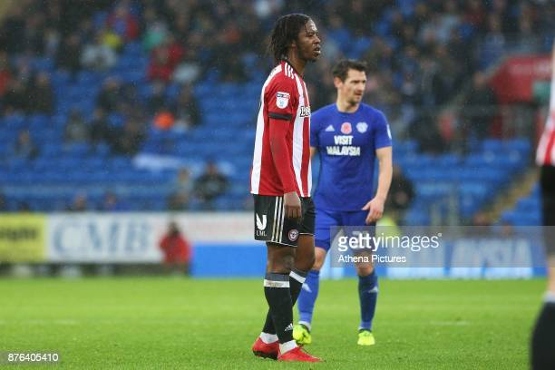 Romaine Sawyers of Brentford during the Sky Bet Championship match between Cardiff City and Brentford at the Cardiff City Stadium on November 18 2017...