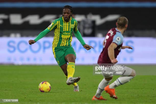 Romaine Sawyers of West Bromwich Albion and Vladimir Coufal of West Ham United during the Premier League match between West Ham United and West...