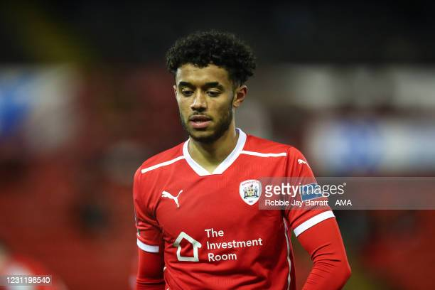 Romal Palmer of Barnsley during The Emirates FA Cup Fifth Round match between Barnsley and Chelsea at Oakwell Stadium on February 11, 2021 in...