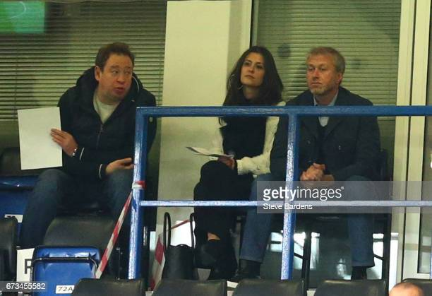 Roman Abramovic Cheslea Chairman and former Football player and Coach Leonid Slutsky watch on during the FA Youth Cup Final second leg between...
