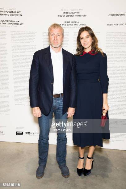 Roman Abramovich and Dasha Zhukova attend the Preview of the Spring Exhibition Season at Garage Museum of Contemporary Art on March 9 2017 in Moscow...