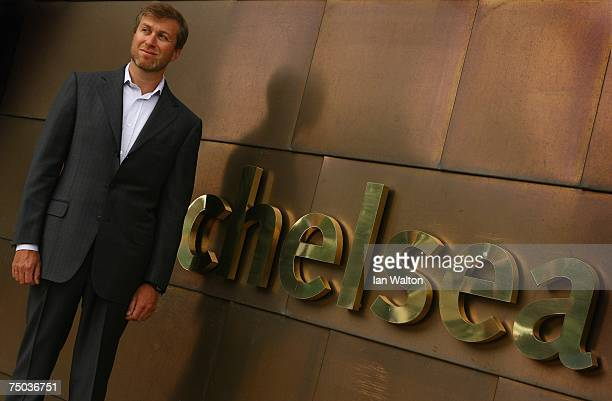 Roman Abramovich, owner of Chelsea, poses during the Chelsea Training Ground Official Opening at Chelsea's training ground on July 5, 2007 in Cobham,...