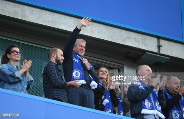 Roman Abramovich owner of Chelsea waves during the Premier League match between Chelsea and Sunderland at Stamford Bridge on May 21 2017 in London...