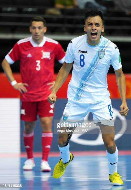 Roman Alvarado of Guatemala celebrates after scoring his teams first goal from a penalty during the FIFA Futsal World Cup 2021 group B match between...