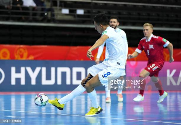 Roman Alvarado of Guatemala scores his teams first goal from a penalty during the FIFA Futsal World Cup 2021 group B match between Guatemala and...