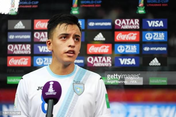Roman Alvarado of Guatemala talks to the media during the FIFA Futsal World Cup 2021 group B match between Guatemala and Football Union Of Russia at...