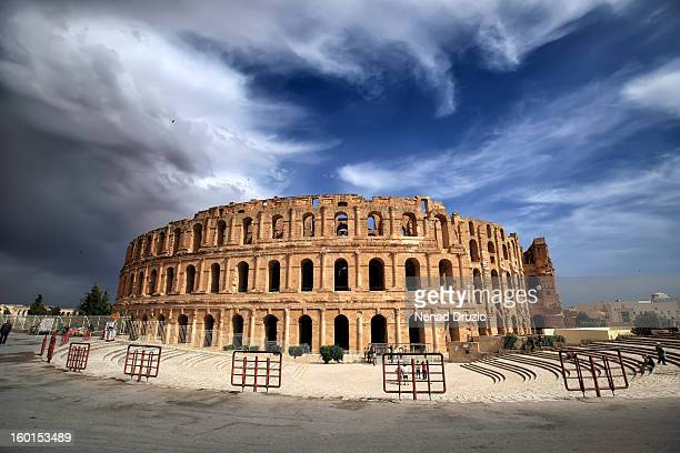 roman amphitheater in el-jem - amphitheatre stock photos and pictures