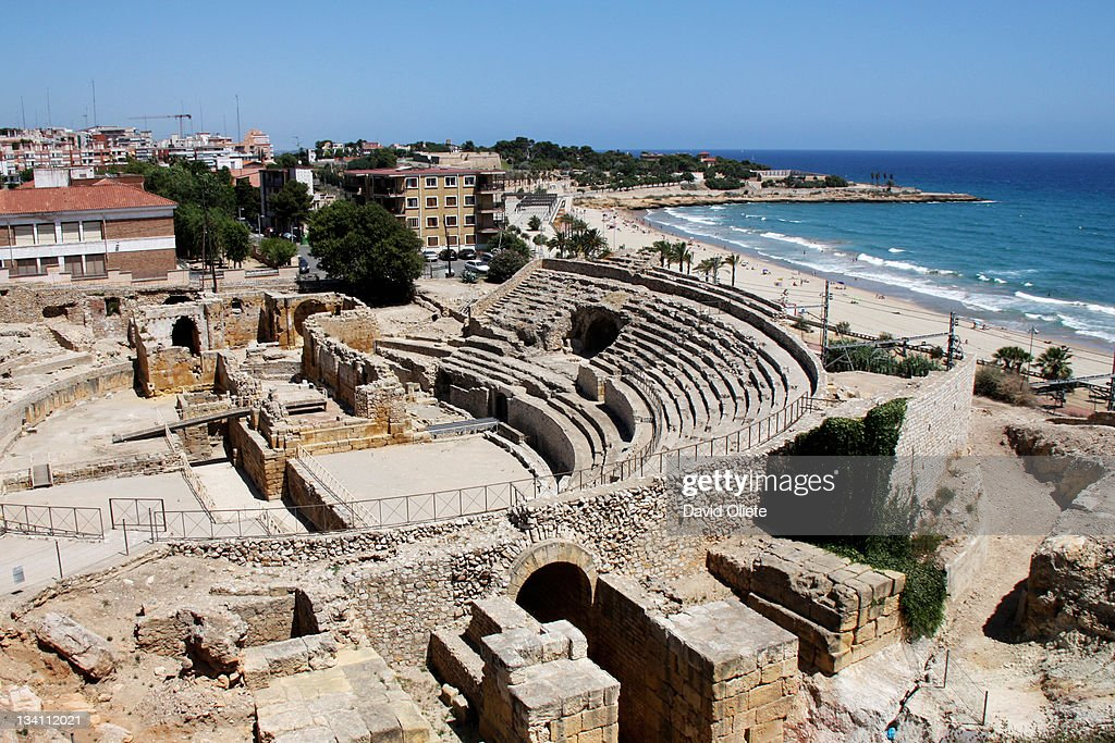 Roman amphitheatre by sea : Stock Photo