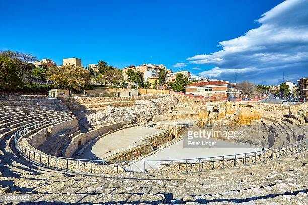 roman amphitheatre in tarragona - amphitheatre stock photos and pictures