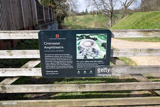 Roman Amphitheatre sign Cirencester Gloucestershire England UK