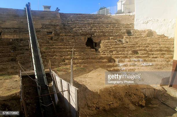 Roman Amphitheatre site viewed through observation window, Cadiz, Spain.