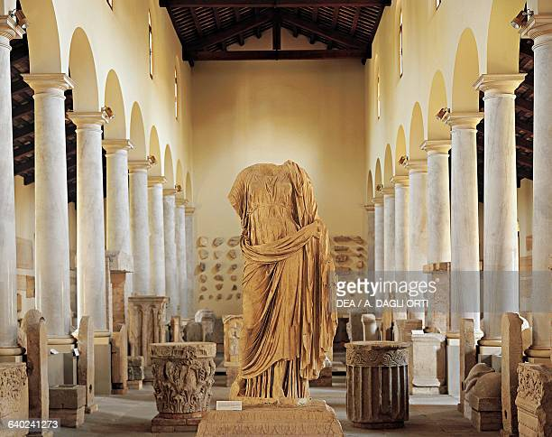 Roman antiquities hall with the headless female statue of Luni in the centre from Concordia National Museum of Concordia in Portogruaro Veneto Roman...