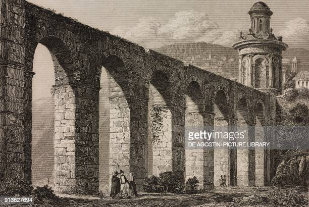 Roman Aqueduct Evora Portugal engraving by Lemaitre from Portugal by Ferdinand Denis L'Univers pittoresque published by Firmin Didot Freres Paris 1846