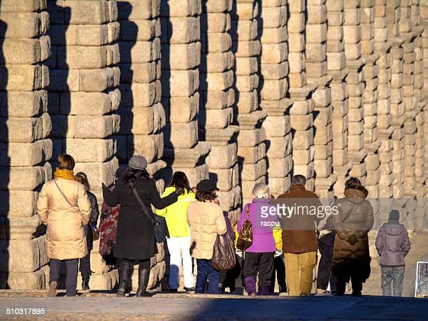 roman aqueduct in segovia - segovia stock photos and pictures