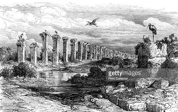 Roman aqueduct Merida Spain 19th century Built during the reign of Hadrian Los Milagros brought water to Merida from three miles away
