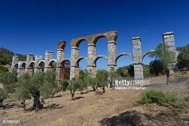 roman aqueduct, moira, mytilene, lesvos, greece - mytilene stock photos and pictures