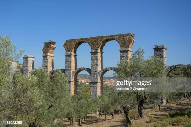 roman aqueduct, moria, mytilene, lesvos, greece - lesbos stock pictures, royalty-free photos & images