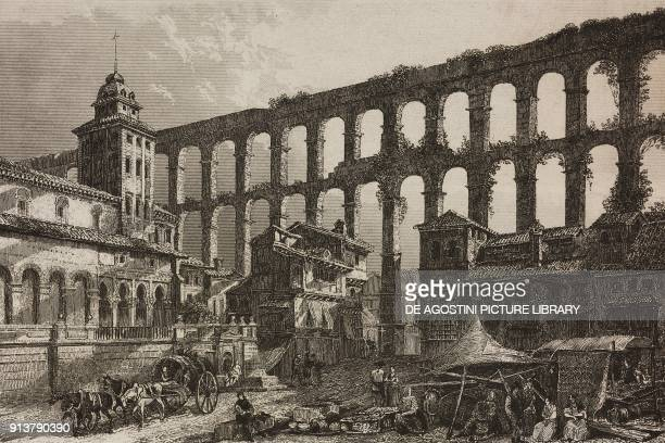 Roman Aqueduct Segovia Spain engraving by Lemaitre from Espagne by Joseph Lavallee and Adolphe Gueroult L'Univers pittoresque published by Firmin...