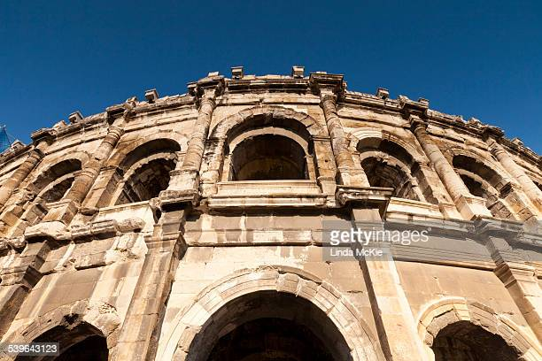 roman arena of nimes, built in the first century ad, nimes, languedoc-rousillon, france - nimes stock pictures, royalty-free photos & images